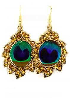 Crystal Peacock Earrings