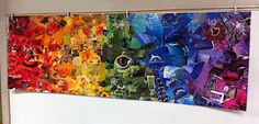 collaborative magazine collage group art projects, collage walls, color wheels, mural, rainbow collag, earth day, rainbow colors, group projects, kid
