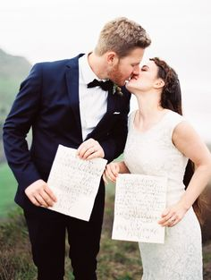 Wedding Idea: Calligraphy Your Wedding Vows - More On SMP: http://www.StyleMePretty.com/2014/06/04/elopement-among-the-redwoods/ Photography: PerryVaile.com - Calligraphy: MonVoir.com