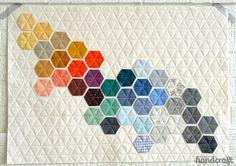 Modern Handcraft // Machine stitched hexagons