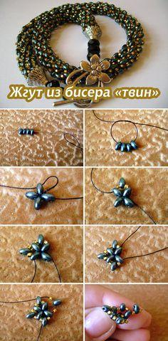 "Плетем ажурный жгут из двудырчатого бисера ""твин"" #diy #jewelry #bead"