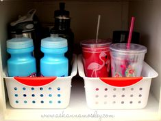 Use baskets to put to-go cups in. you can keep them from falling over and can reach the ones in the back easier! ....and Lots of kitchen organization tips!