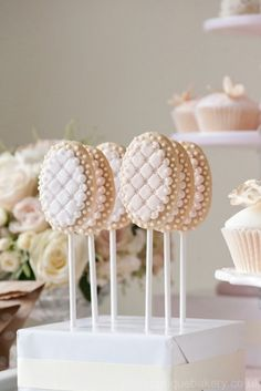 Quilted Wedding Cookie Pops