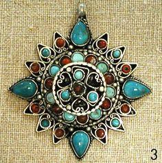 Turquoise Ghau Box Tibetan Mandala Pendant