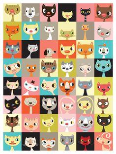 cats, cat art, animals, dogs, desks, collages, families, blog, babies rooms