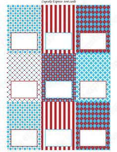 DIY Dr. Seuss Inspired  Birthday Party  PRINTABLE Food Labels Tent Cards Red Blue white  polka dots stripes