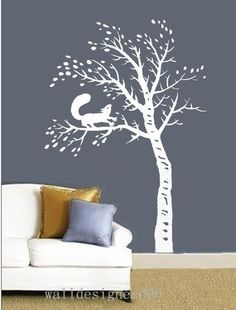 Vinyl wall Sticker Graphic Wall Decal Art-tree with squirrel
