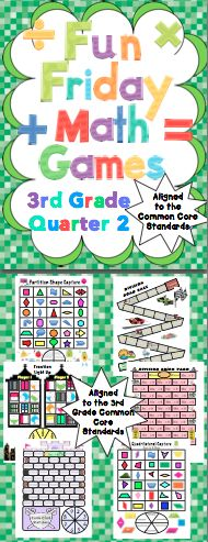 Fun Friday Math Games: Quarter 2 (3rd Grade): Put the fun back in Fridays! These super fun games reinforce the 3rd grade Common Core standards. They work well with math workshop. Play them on Friday and use them in centers the next week! Available for 3rd and 4th grades. $