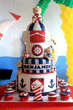 Sailor Bear Birthday Party with Lots of Ideas via Kara's Party Kara'PartyIdeas.com #sailor #bear #birthday #party #planning #ideas #supplies #cake