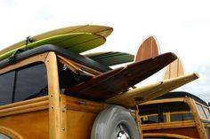 Vintage Woodies and surfboards, let's go hang ten.............
