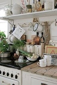 French country kitchen --  Oh my gosh, we are so blessed to have been able to paint and play with this rental kitchen here on the farm but our countertops are SO HIDEOUS.  These wood planks are AWSOME - I'd be happy to clean the crumbs out!   -Parisienne Farmgirl