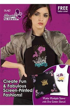 Create fun and fabulous screen-printed fashions. Make mulitiple items with one screen stencil.