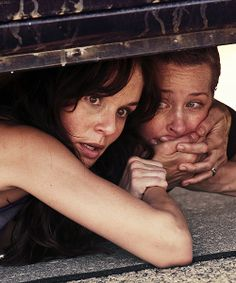 The Walking Dead - Lori and Carol hiding from zombies, and Carol sees Sophia hiding far away.