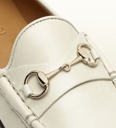 White Gucci horsebit loafer in leather