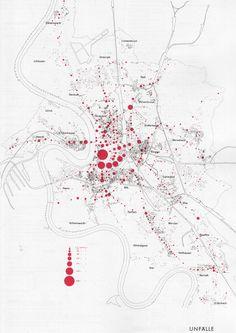 MAP OF ACCIDENTS IN DÜSSELDORF, 1961  IN: DEUTSCHER STÄDTEBAU NACH 1945