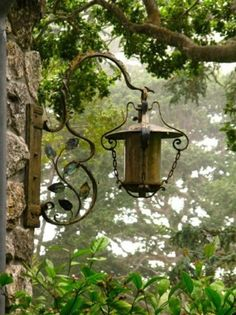 lantern, cottag, focal points, bird feeders, lamp, french country, herbs garden, wrought iron, light