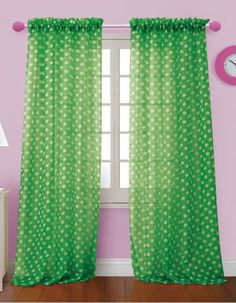 Polka Dot bright sheer voile curtain panels will brighten any room in your home. These sheer curtains are great in kid's rooms. These vivid colored sheer curtains have a contemporary look available in 6 colors and sold in pairs.  #Kids #Curtains #Swags #Galore