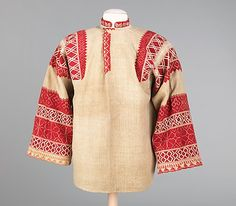 Shirt - 1800's  -- they grew the flax, wove the linen fabric, then had to dye the threads and embroider the shirt - oh, and plan the design.  What we take for granted today.