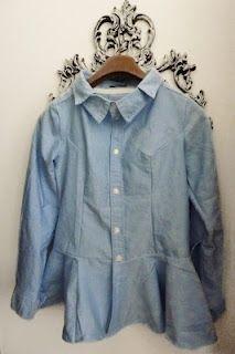 Refashion #II -Men's shirt to Women's Peplum Blouse