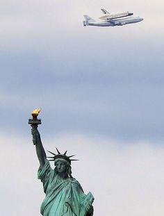 statue of liberty, statues, ladi liberti, shuttl enterpris, space shuttle, enterpris arriv