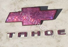 """Bling! :) Crystal PINK CHEVY TAHOE Emblems. What your color? WANT - GOING TO GET!! Except it will say """"Tacoma"""" and be a Toyota emblem. Also be Tiffany Blue :)"""