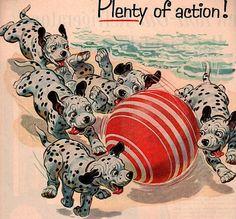 Puppy Dalmatian's at the beach - Vintage 1950 advertisement texaco