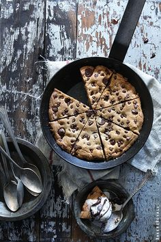 Skillet Chocolate Chip Cookie made in a cast iron pan or pie tins