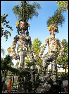 Trash art figures; Tio's Tacos, Riverside CA