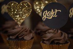 Cupcakes at a Hearts of Gold Party via Kara's Party Ideas KarasPartyIdeas.com #HeartOfGold #ValentinesDay #SparkleAndShine #PartyIdeas #WeddingIdeas