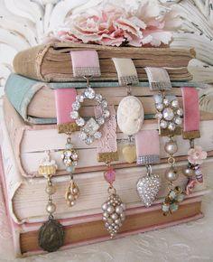 repurposed vintage pretties for bookmarks!