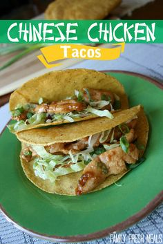 Add new twist on taco Tuesday with the Chinese chicken taco. Source: Family Fresh Meals