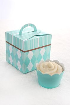Aqua Argyle and Stripes Printable Cupcake Holder by ThePoshEvent,