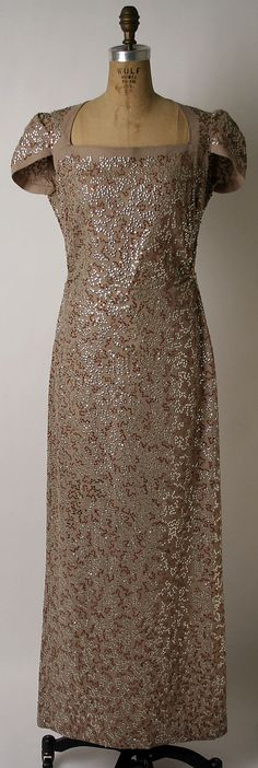 Sequined wool evening dress, attributed to Norman Norell for Hattie Carnegie, Inc., American, 1940-45.