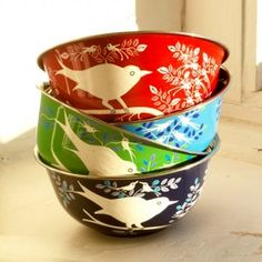colorful birds, bowl