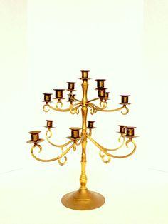 Vintage Brass Candelabra  Extra Large Decorative by OneDecember, 115.00