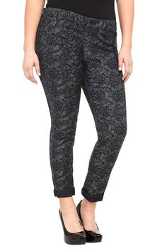 Source Of Wisdom - Lace Print And Basic Reversible Skinny Jeans