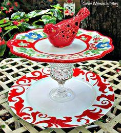 Red Bird Garden Totem / Tiered Dessert by GardenWhimsiesByMary, $40.00