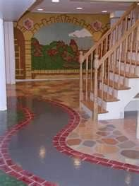 Kid Playing Room- painted cement floor!