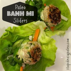 All the flavors of delicious Vietnamese Banh Mi sandwiches without the bread! http://stupideasypaleo.com/2013/02/09/paleo-banh-mi-sliders/ #paleo #glutenfree