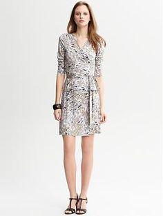Gemma Print Wrap Dress (Silver Coin). Banana Republic. $98.00