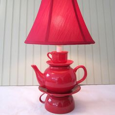 Teapot Lamp Red Stacked Teapot and Tea Cup Shabby by ThistleandJug, $80.00
