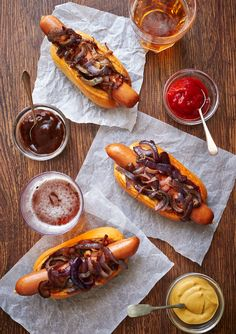 Delish Hot Dogs topped with Onions via @Cinda Mowers Kay #yum