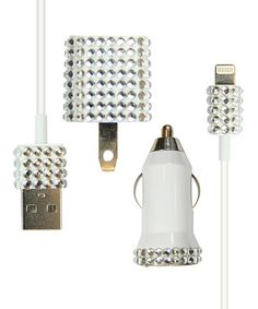 White Rhinestone Charger Set for iPhone 5