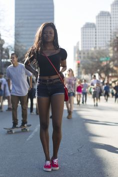SXSW music festival street style. Red Vans authentics, high waisted shorts, crop top. Photo: lifewithoutandy