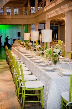 Table and Chairs - Lime and Grey Weddings chair, tablecloth, grey weddings, southern weddings, lime green, limes, green weddings