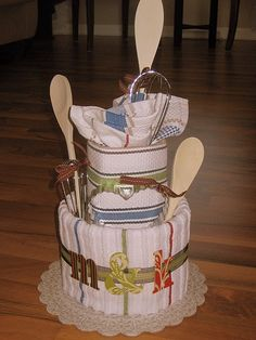 Tea Towel Shower Cake...way cute!! why have i never thought of this?! #wedding gift ideas