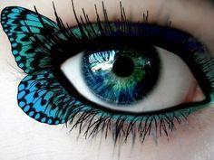 butterfli, butterfly kisses, eye makeup, eyeshadow, eye colors, blue green, art, makeup ideas, butterfly wings