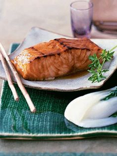 Sweet and salty flavors combine to glaze this melt-in-your-mouth Pineapple and Soy-Glazed Salmon. #valentinesday #recipes