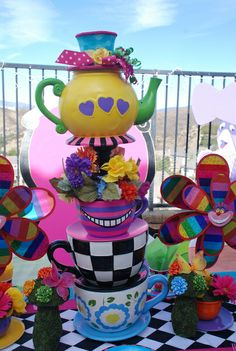 Decorations at an Alice in Wonderland birthday party!  See more party ideas at CatchMyParty.com!