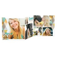 Shimmering Diamonds - Tri-Fold Graduation Announcements - Hello Little One in Jewel Green. #graduation